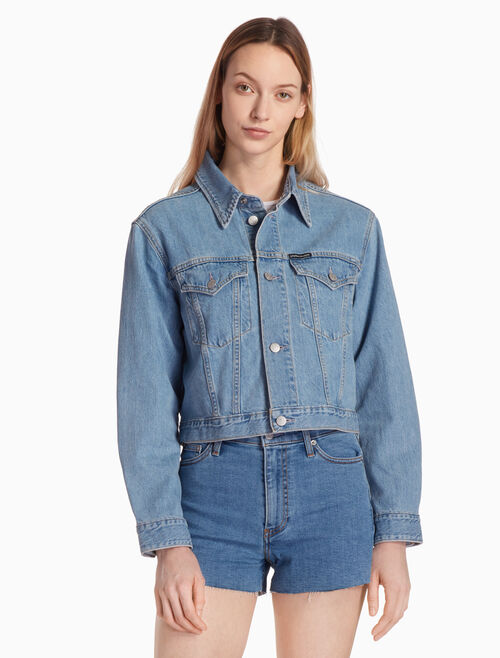 CALVIN KLEIN CROPPED FOUNDATION TRUCKER JACKET
