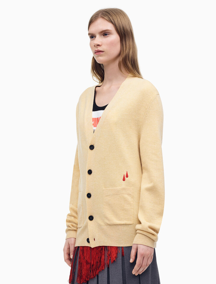 CALVIN KLEIN CLASSIC FIT V-NECK CARDIGAN WITH BLOOD DROP EMBROIDERY