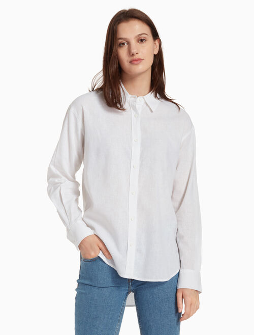 CALVIN KLEIN 寬鬆亞麻襯衫