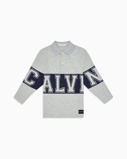 CALVIN KLEIN 남아용 바시티 긴소매 폴로 셔츠