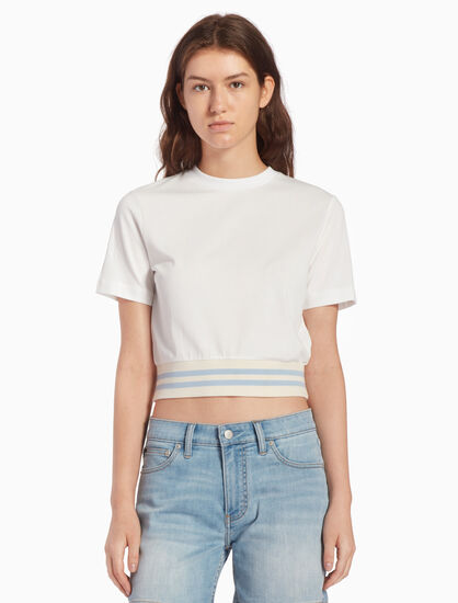 CALVIN KLEIN KNIT SHORT SLEEVE TOP WITH STRIPED BAND