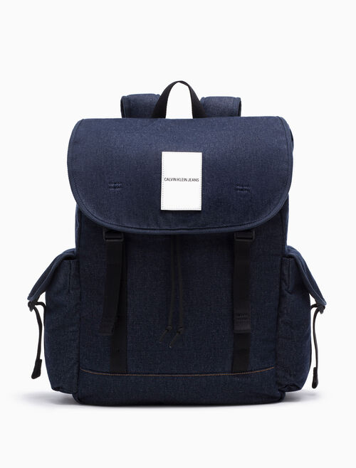 CALVIN KLEIN DENIM BACKPACK WITH OMEGA DRAWSTRING