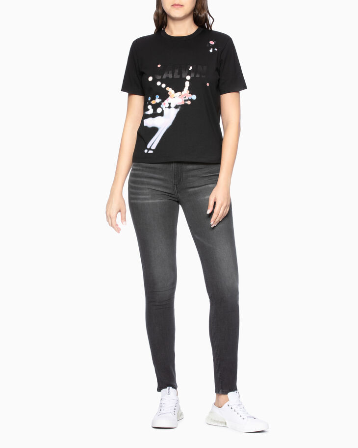CALVIN KLEIN SATIN LOGO PHOTO PRINT TEE
