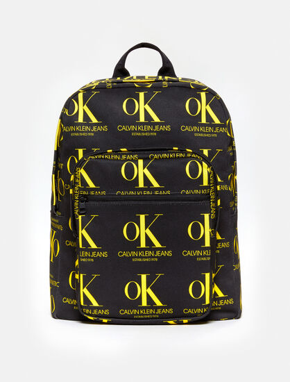 CALVIN KLEIN OK LOGO BLACK WASH DENIM BACKPACK