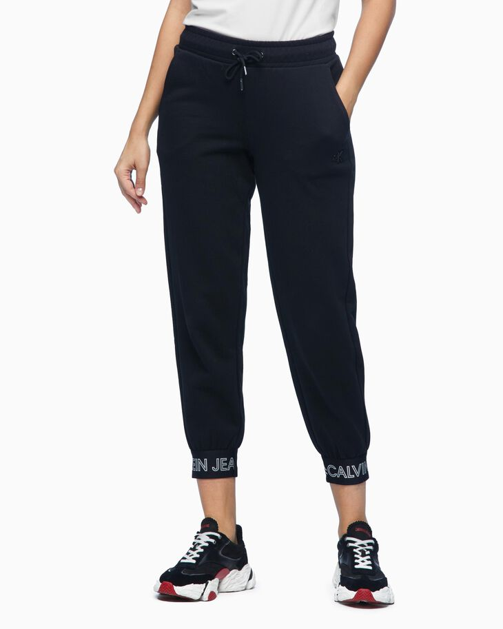 CALVIN KLEIN OUTLINED LOGO TAPER JOGGERS