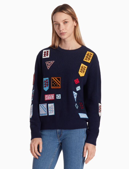 CALVIN KLEIN KNIT PULLOVER JUMPER WITH BADGES