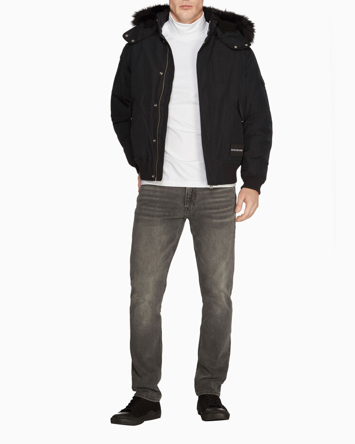 CALVIN KLEIN FUR TRIM HOODED DOWN JACKET