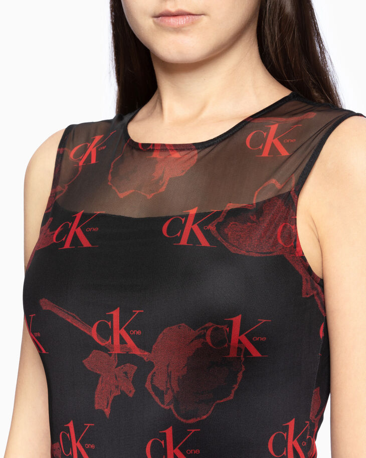 CALVIN KLEIN CK ONE ALL OVER PRINT SLIM DRESS
