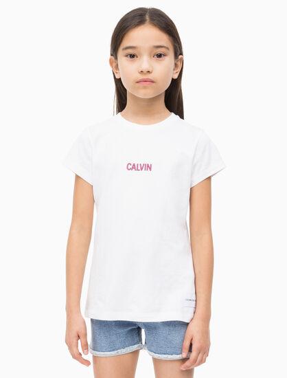 CALVIN KLEIN GIRLS SMALL LOGO CREW TEE
