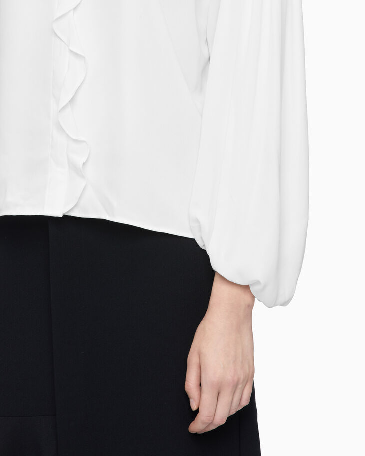 CALVIN KLEIN RUCHED PUFF SLEEVE BOXY TOP