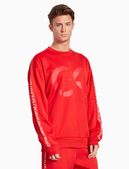 CALVIN KLEIN RE-EMERGE LOGO TAPE PULLOVER SWEATSHIRT