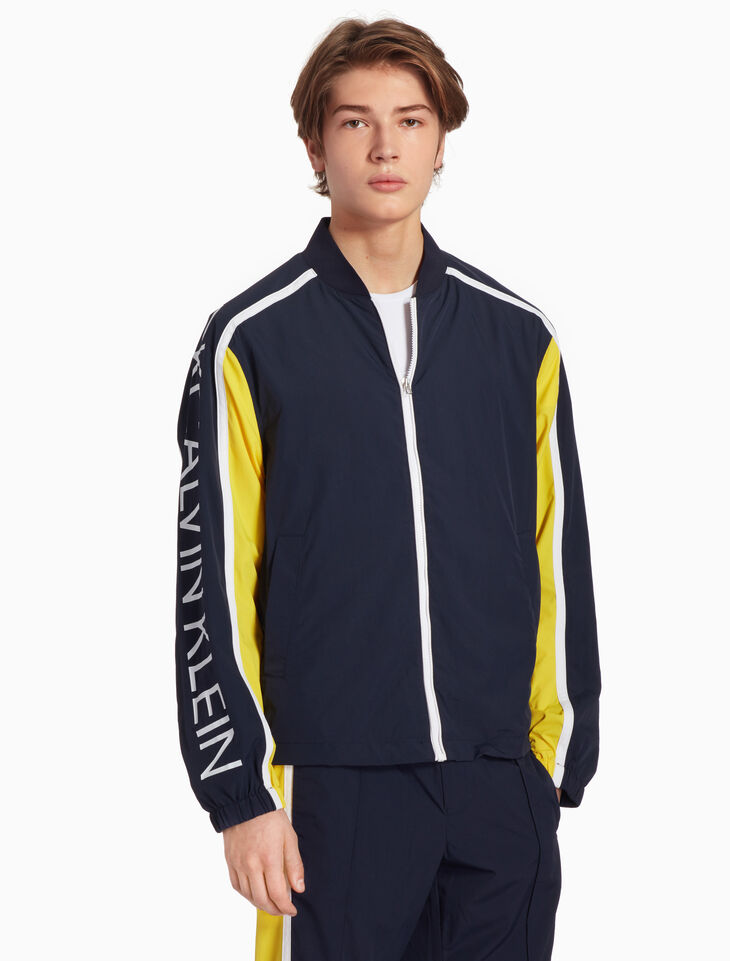 CALVIN KLEIN COLOR BLOCK LOGO BOMBER JACKET