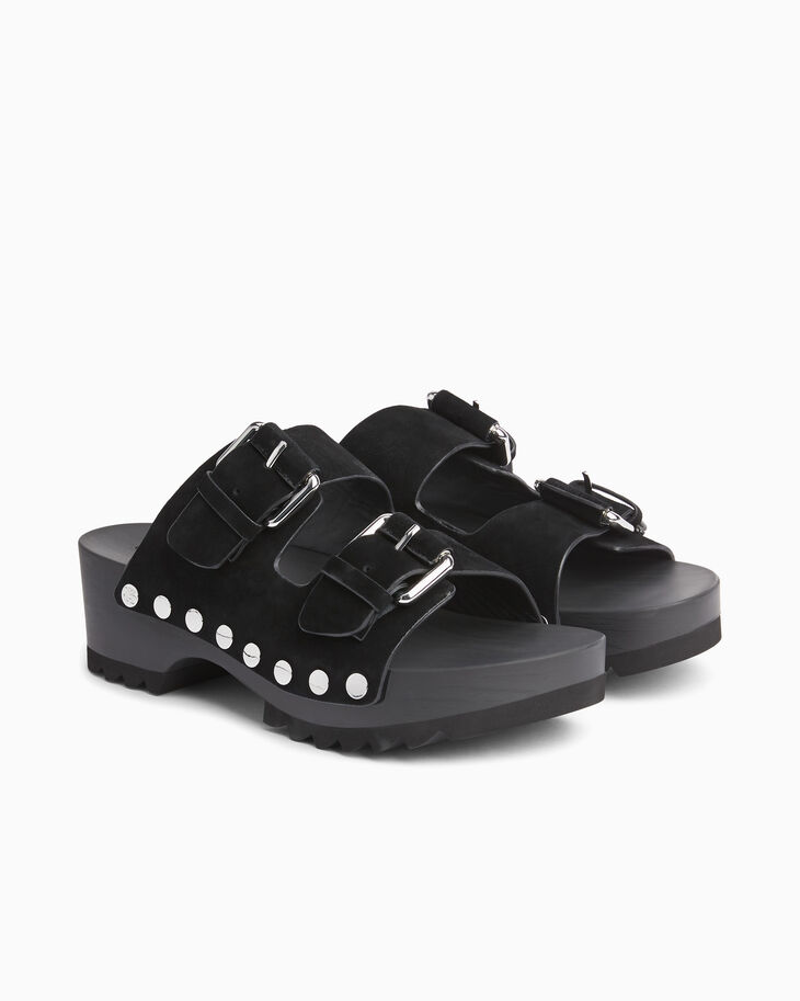 CALVIN KLEIN BUCKLE LEATHER CLOG SANDALS