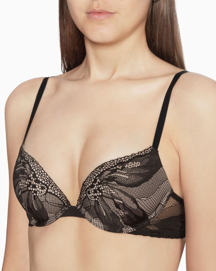 CALVIN KLEIN PETAL LACE PUSH UP PLUNGE BRA