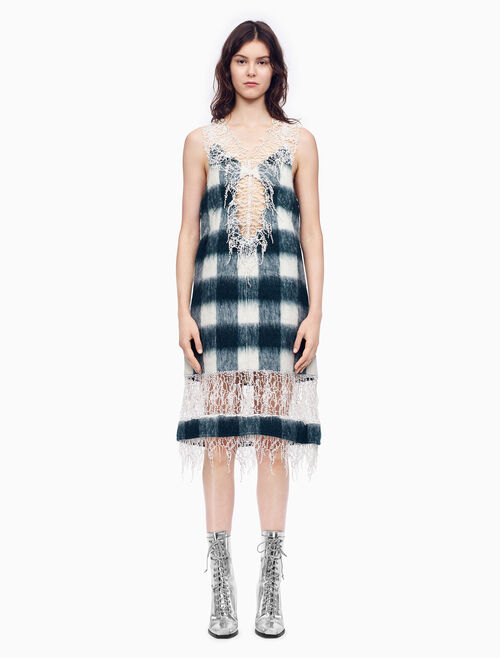 CALVIN KLEIN BUFFALO CHECK 刷紋羊毛無袖蕾絲連衣裙