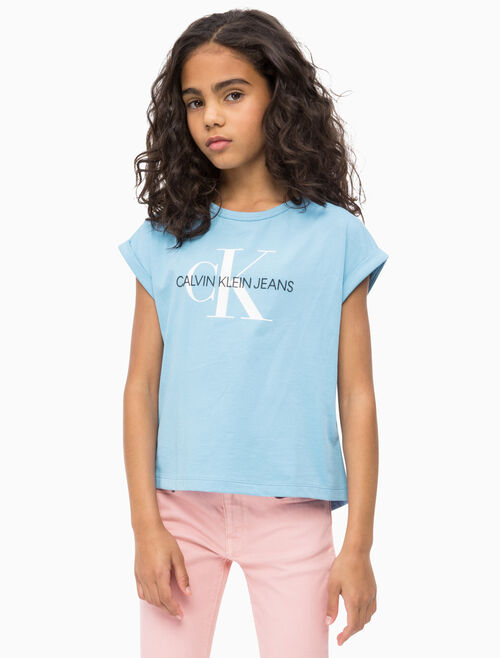 CALVIN KLEIN GIRLS MONOGRAM LOGO LOOSE TEE