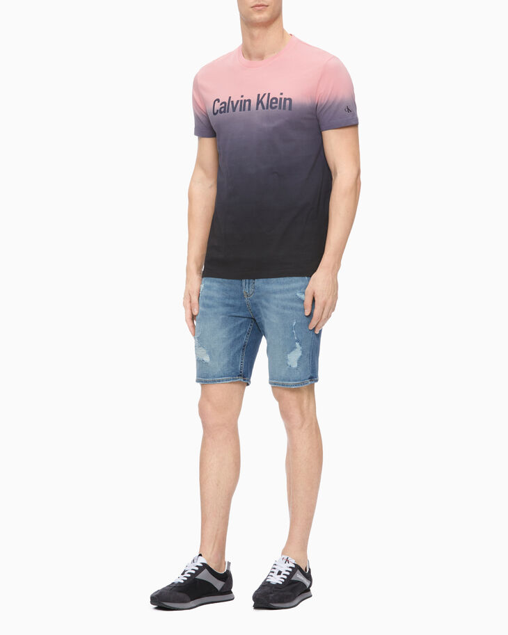 CALVIN KLEIN RIPPED STRAIGHT DENIM SHORTS
