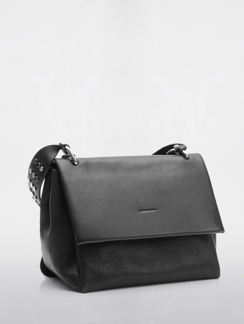 CALVIN KLEIN FENDERED SATCHEL WITH STUDS