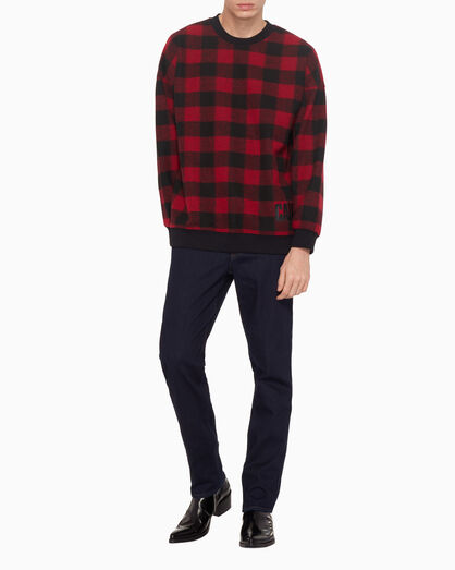 CALVIN KLEIN 플레이드 플리스 스웨터