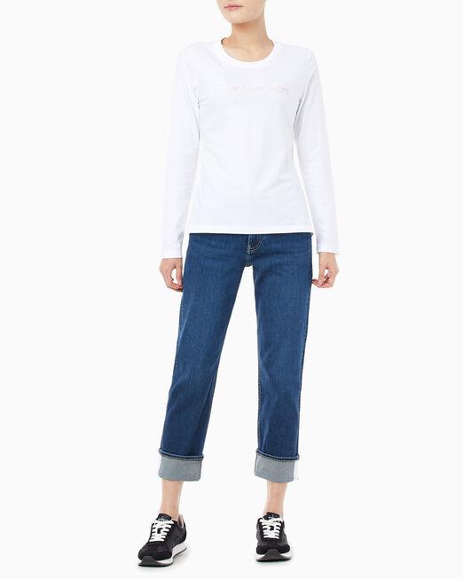 CALVIN KLEIN 여성 메탈릭 인스티튜셔널 로고 슬림핏 긴팔 티셔츠