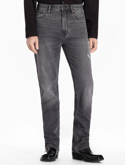 CALVIN KLEIN DISTRESSED HIGH STRAIGHT JEANS