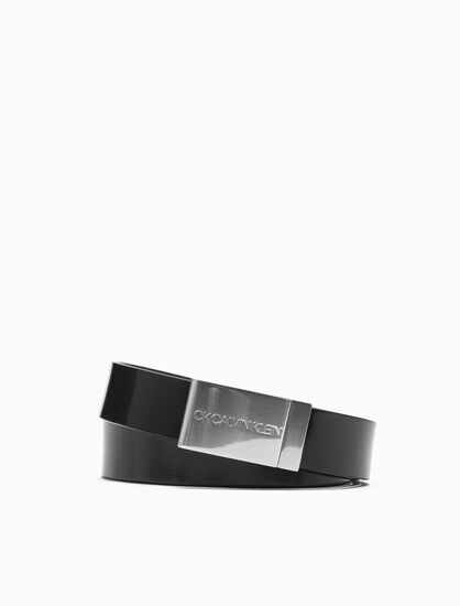 CALVIN KLEIN LOGO PLAQUE BUCKLE BELT
