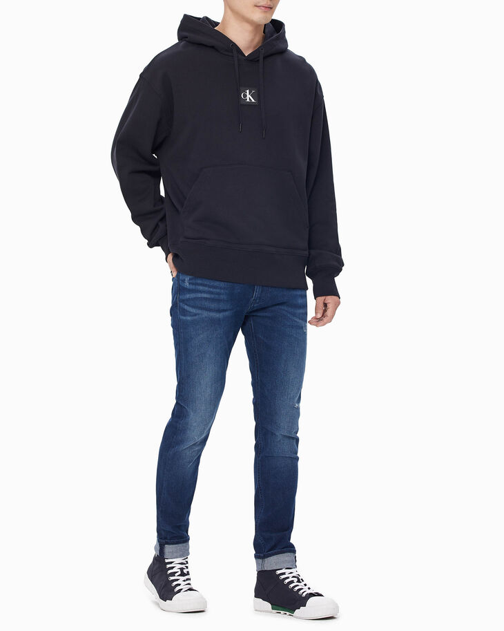 CALVIN KLEIN CK ONE LOGO PATCH RELAXED HOODIE