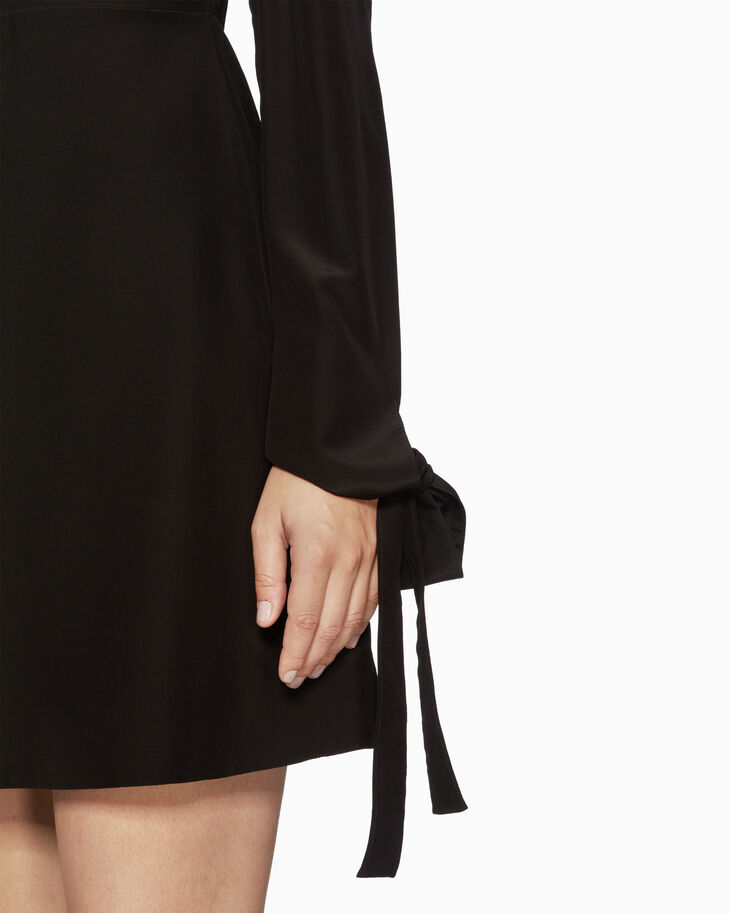 CALVIN KLEIN VISCOSE TIE CUFF DRESS