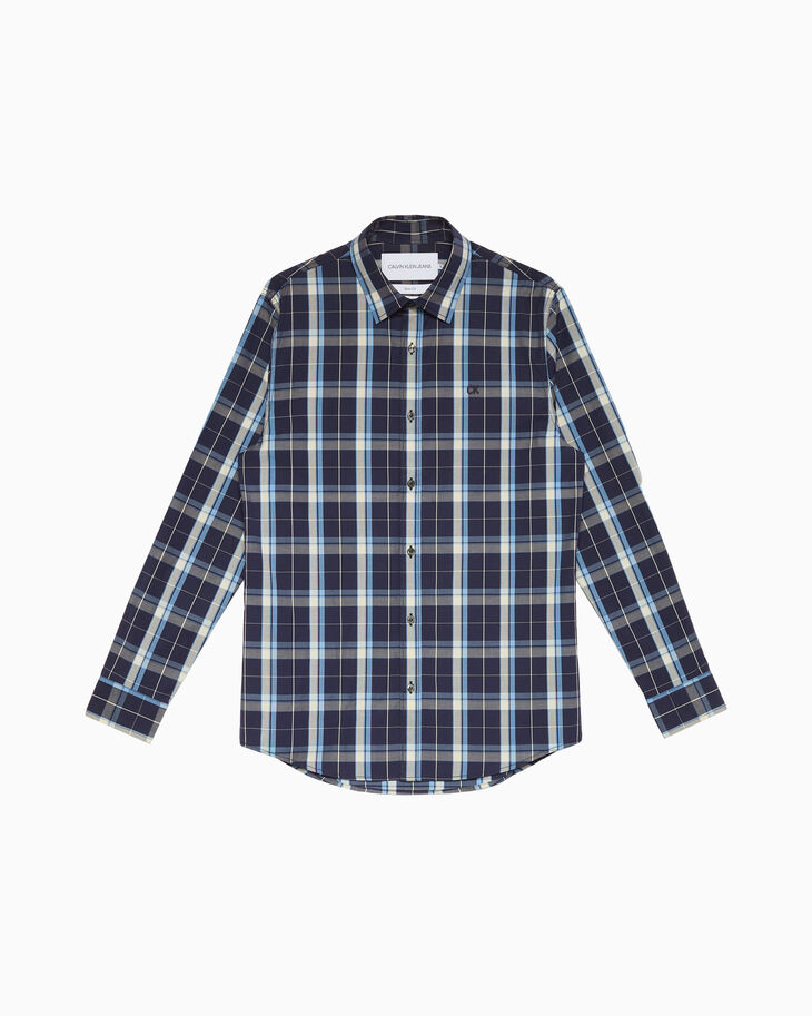 CALVIN KLEIN CHECKED POPLIN 슬림 셔츠