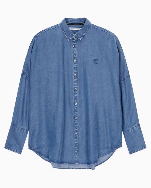 CALVIN KLEIN 여성 오버사이즈 인디고 텐셀 셔츠