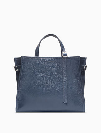 CALVIN KLEIN East/West Side Strap Tote In Shiny Deer Leather