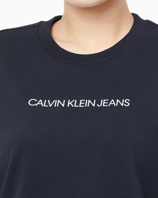 CALVIN KLEIN 여성 인스티튜셔널 로고 크루넥 스웨트셔츠