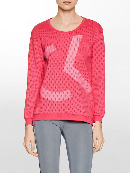 CALVIN KLEIN PRFORATED SWEAT PULLOVER