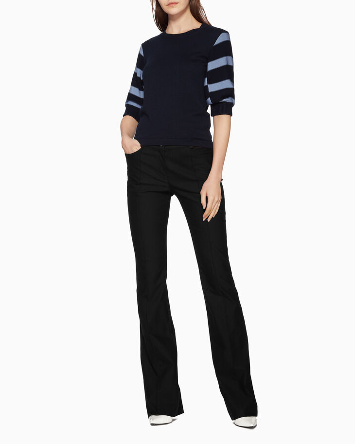 CALVIN KLEIN KNIT STRIPE SLEEVE TOP