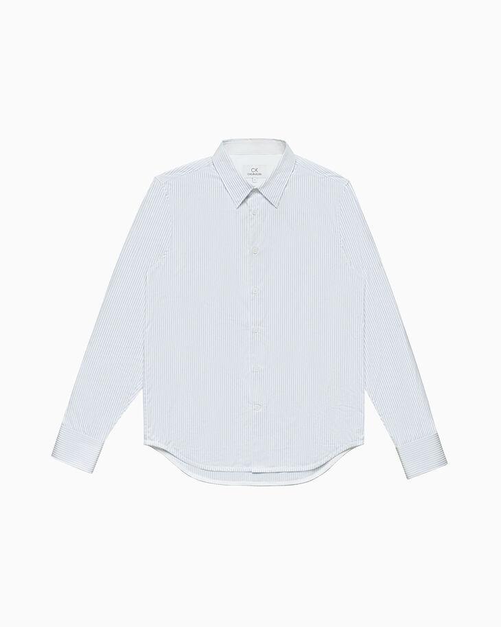 CALVIN KLEIN 코튼 새틴 스트라이프 셔츠