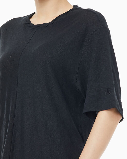 CALVIN KLEIN 여성 숄더 드로우스트링 반팔 티셔츠
