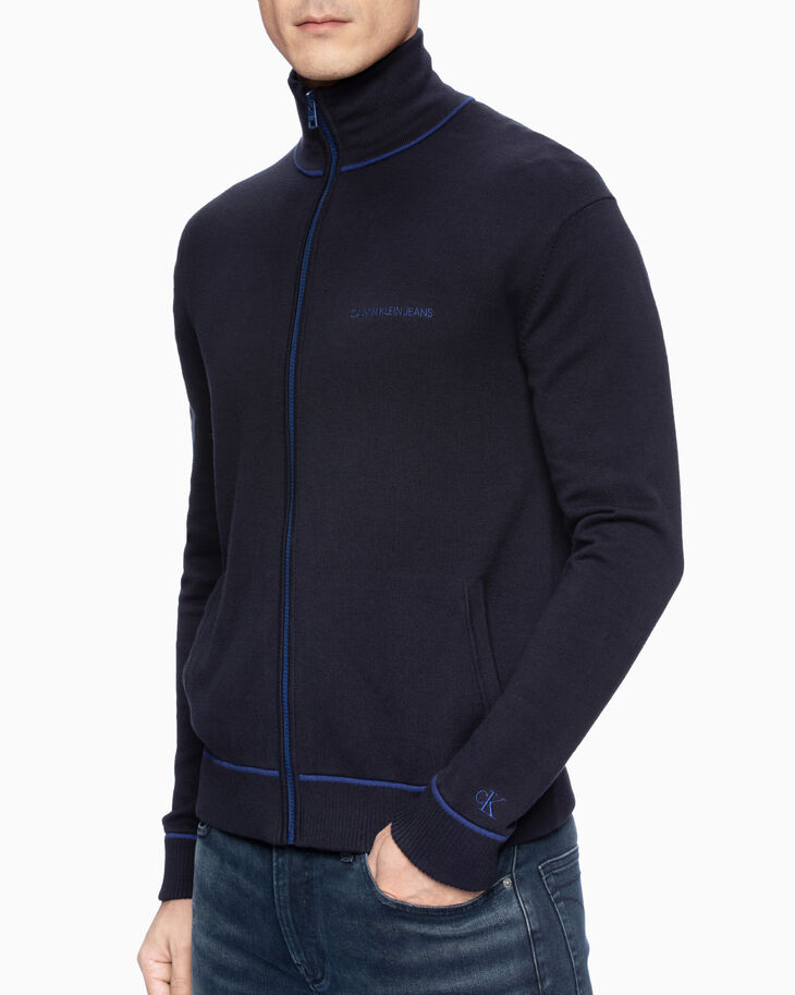 CALVIN KLEIN CONTRAST LINE KNIT ZIP UP JACKET