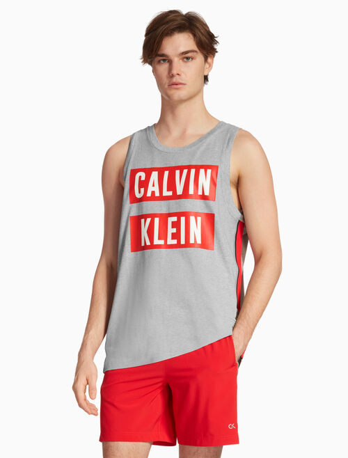 CALVIN KLEIN BOX LOGO STRIPE TANK TOP