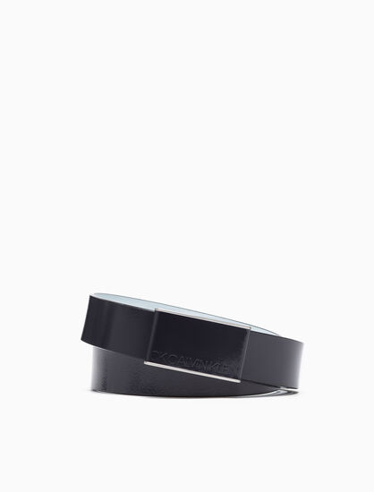CALVIN KLEIN LEATHER PLAQUE BUCKLE BELT