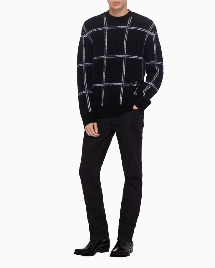 CALVIN KLEIN PLAID WOOL BLEND SWEATER