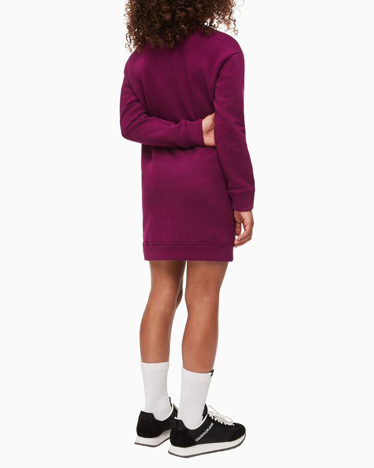CALVIN KLEIN GIRLS TRIPLE LOGO SWEATSHIRT DRESS