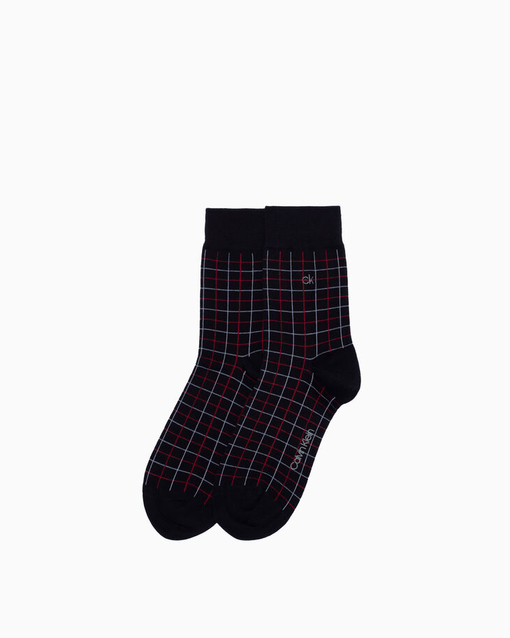 CALVIN KLEIN PLAID COTTON CREW SOCKS
