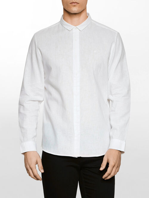 CALVIN KLEIN FASHION COLLAR LINEN SHIRT