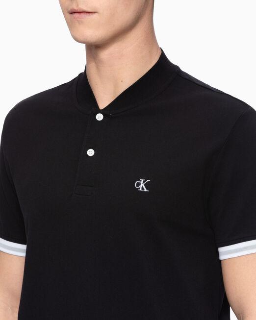 CALVIN KLEIN 남성 슬림핏 베이스볼 폴로 셔츠