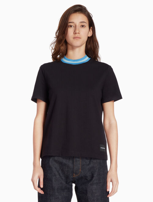 CALVIN KLEIN KNIT TEE WITH POP STRIPE