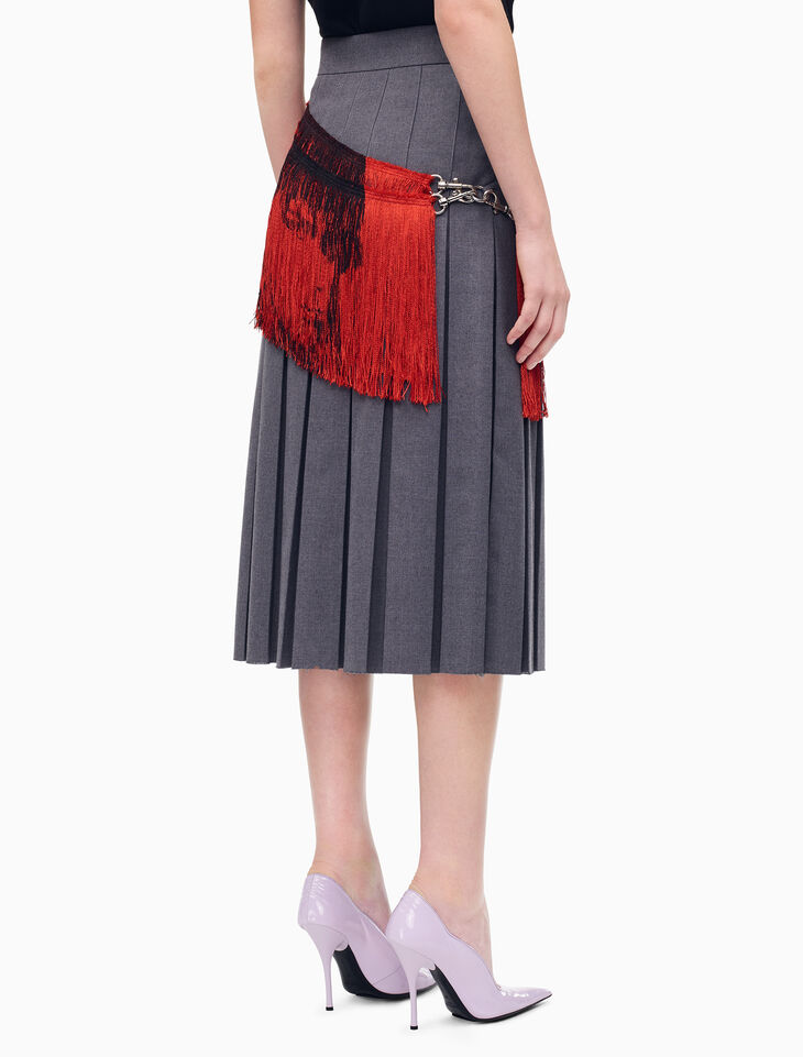 CALVIN KLEIN SCHOOLGIRL PLEATED SKIRT WITH FRINGE SCARF
