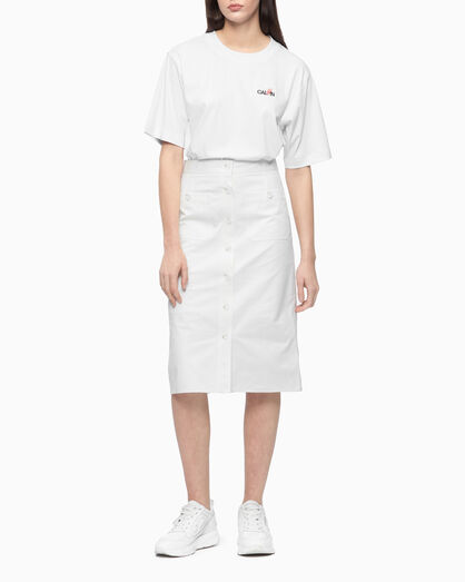CALVIN KLEIN FRONT BUTTON A-LINE SKIRT