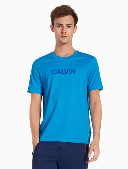CALVIN KLEIN 플록 로고 저지 티셔츠