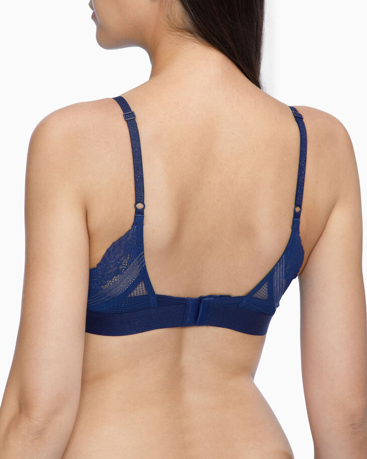 CALVIN KLEIN LUREX LACE PUSH UP PLUNGE BRA