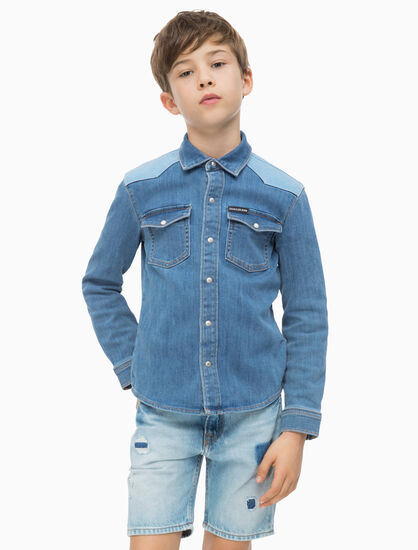 CALVIN KLEIN BOYS CONTRAST SHOULDER DENIM SHIRT